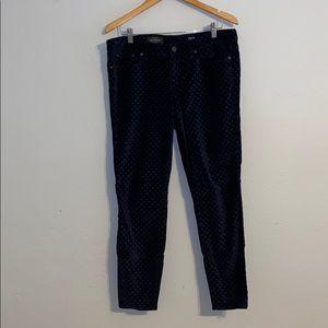 Navy Velvet Dot Pants